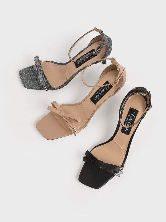 Leather & Kid Suede Bow Sandals, Multi, hi-res