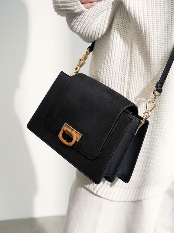 Textured Crossbody Bag, Black, hi-res