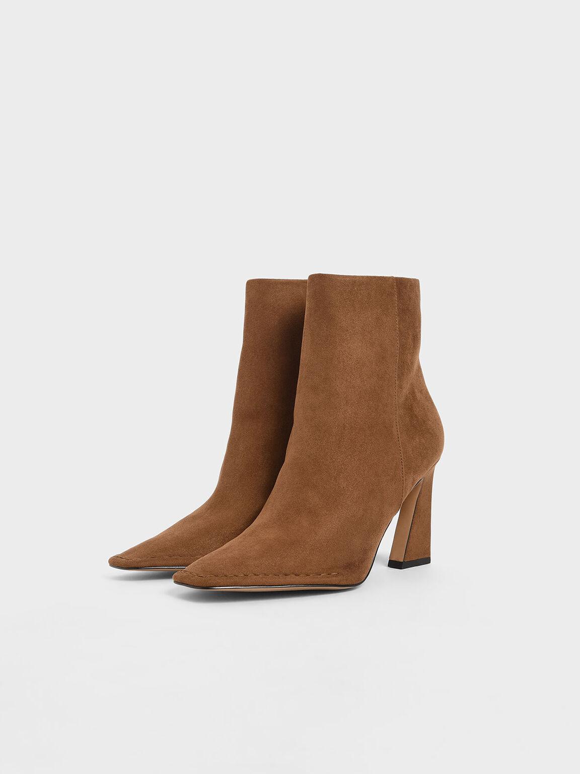 Textured Sculptural Heel Ankle Boots, Camel, hi-res