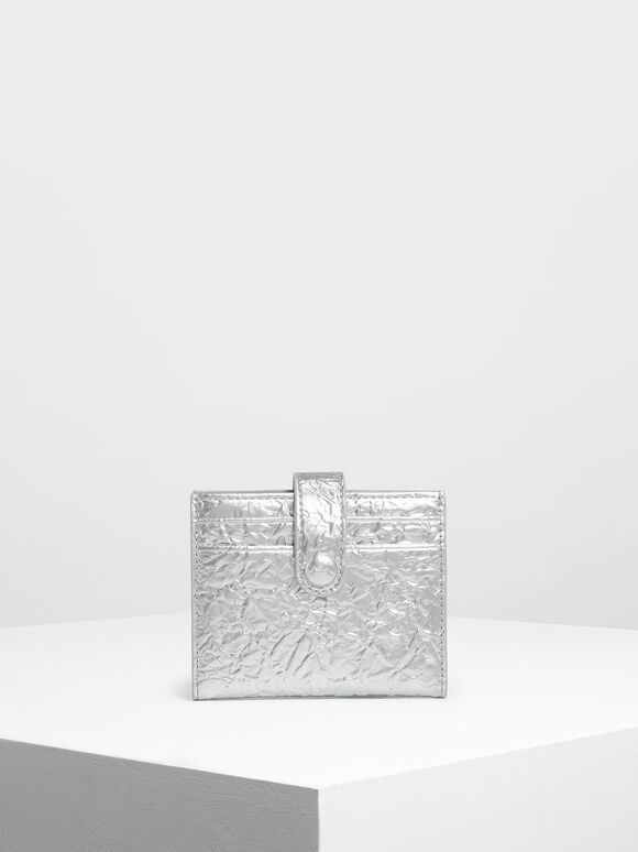 Snap Button Card Holder, Silver, hi-res