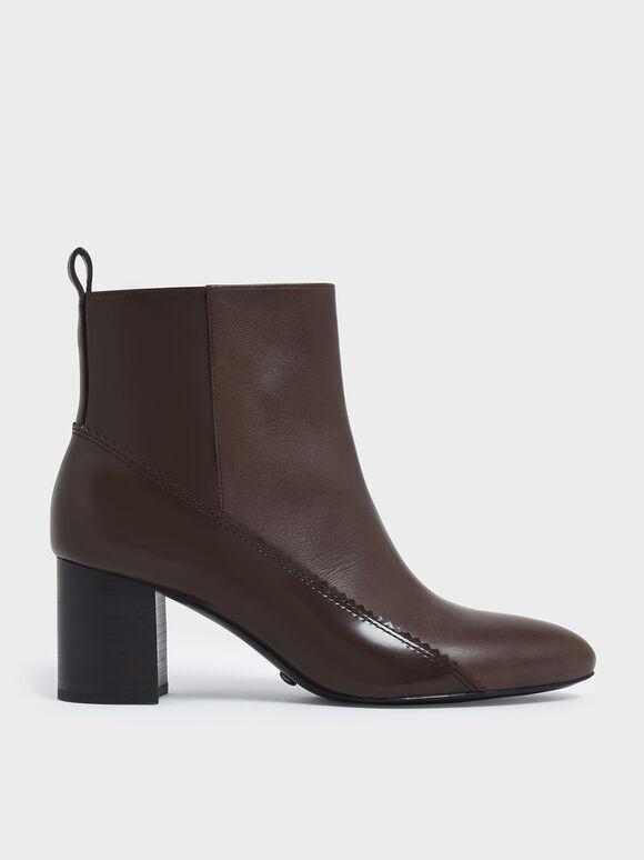 Zigzag Detail Zip-Up Leather Ankle Boots, Dark Brown, hi-res