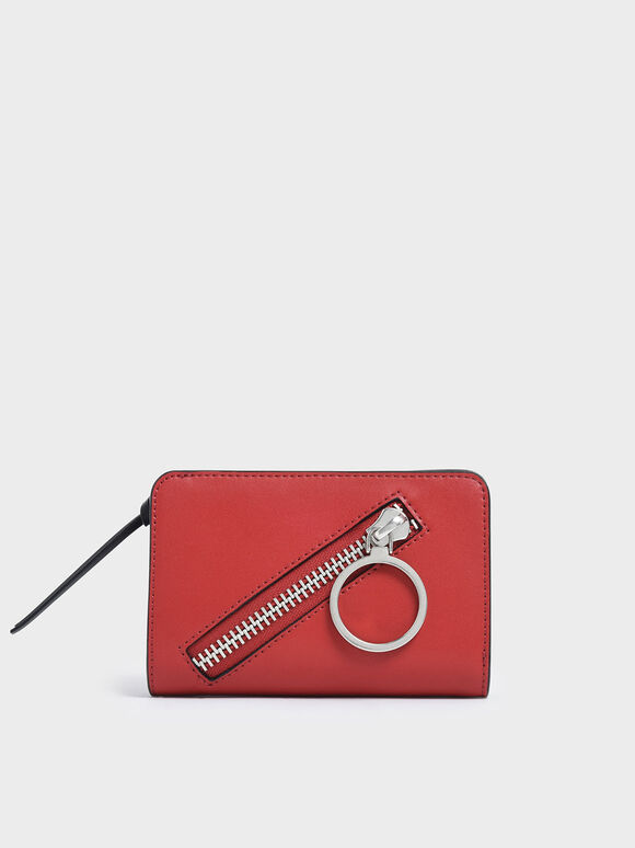 Ring Detail Zip Around Small Wallet, Red, hi-res