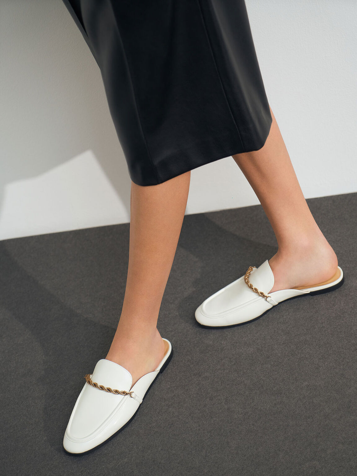 Metallic Accent Mule Flats, White, hi-res
