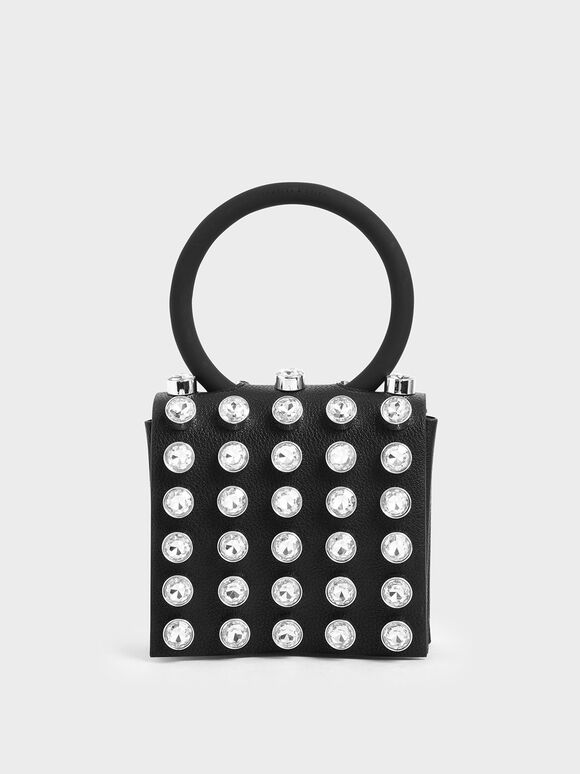 Studded Wristlet Clutch, Black, hi-res