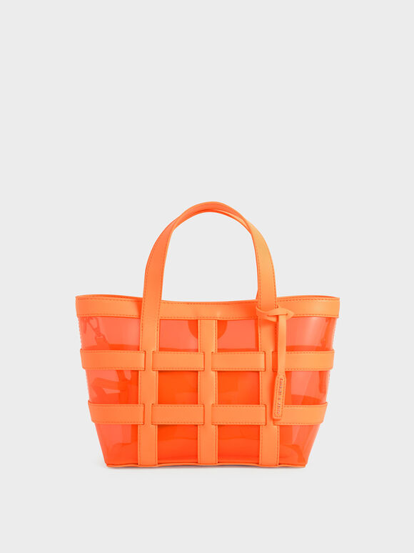Caged See-Through Tote Bag, Neon Orange, hi-res