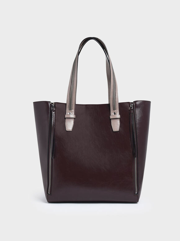 Two-Tone Double Zip Long Handle Tote Bag, Multi, hi-res