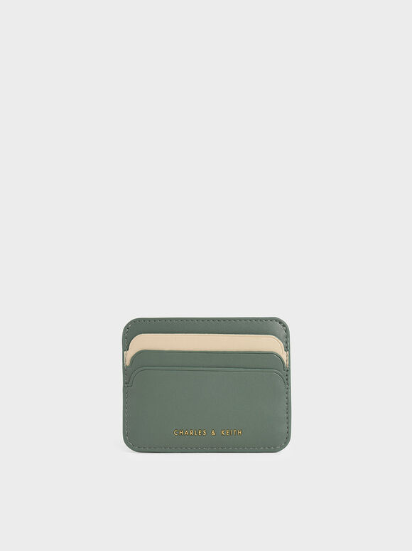 Two-Tone Multi-Slot Card Holder, Green, hi-res