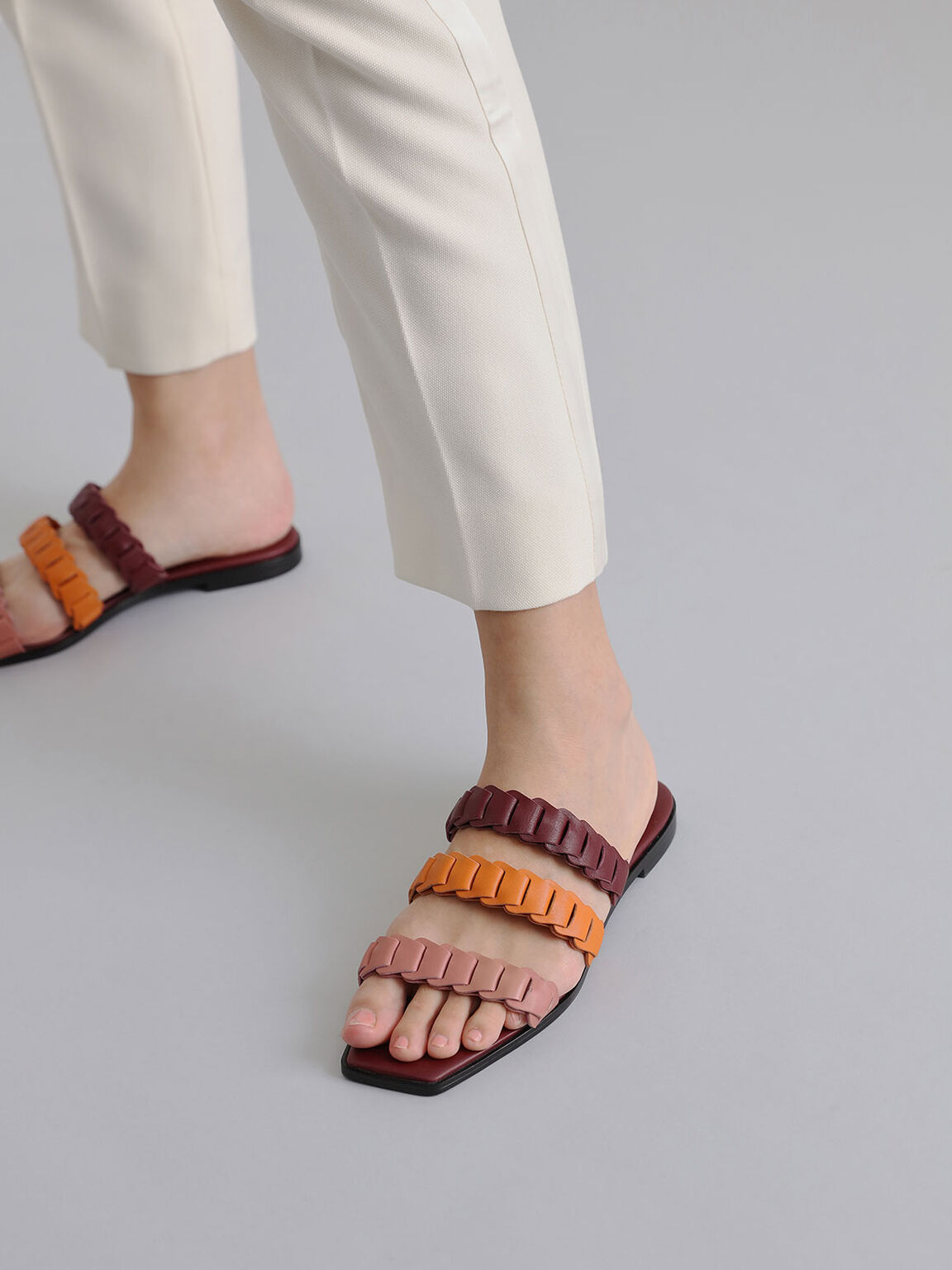 Leather Pleated Strap Slide Sandals, Multi, hi-res
