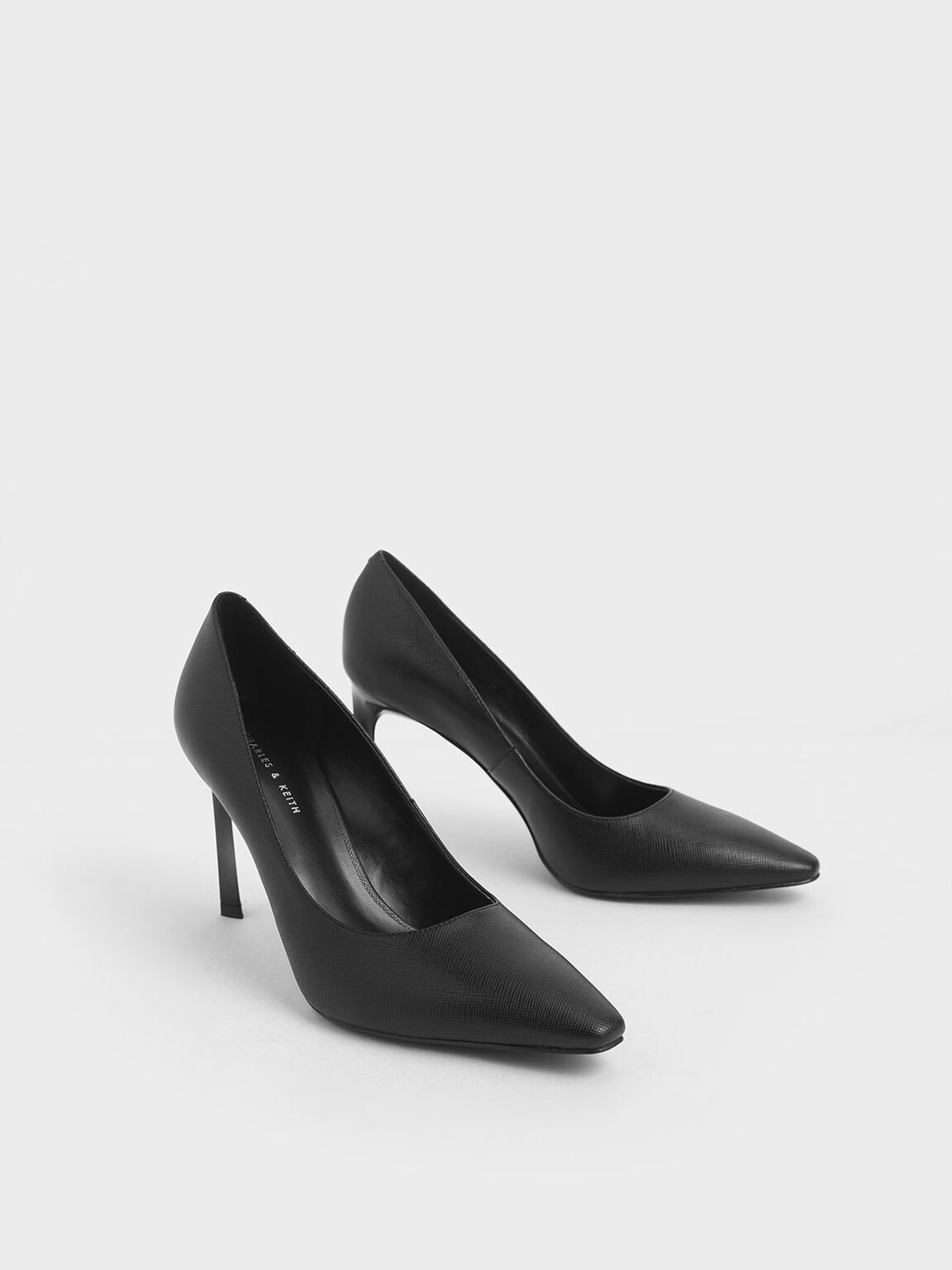 Sculptural Stiletto Pumps, Black, hi-res