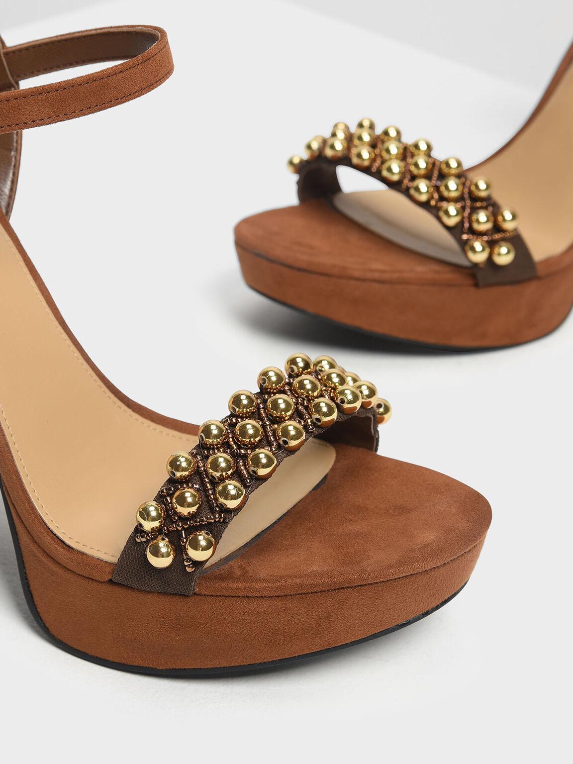 珠飾高跟涼鞋, 咖啡色, hi-res