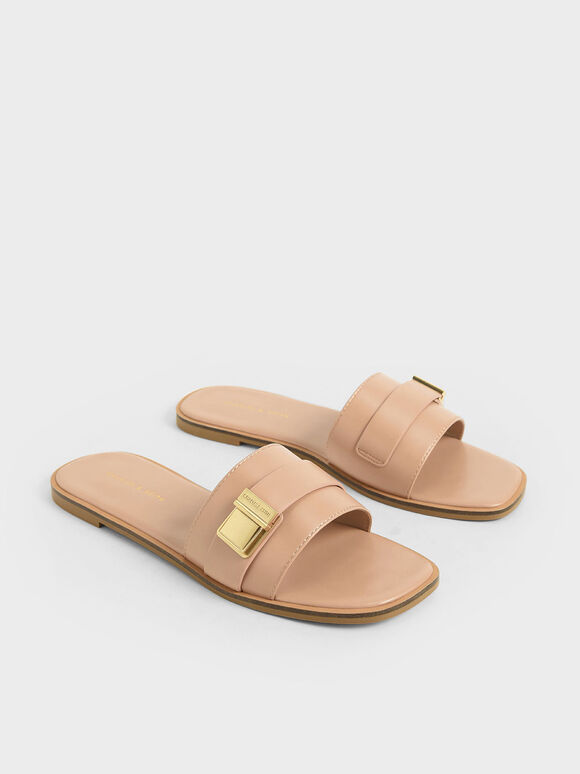 金屬方扣拖鞋, 膚色, hi-res