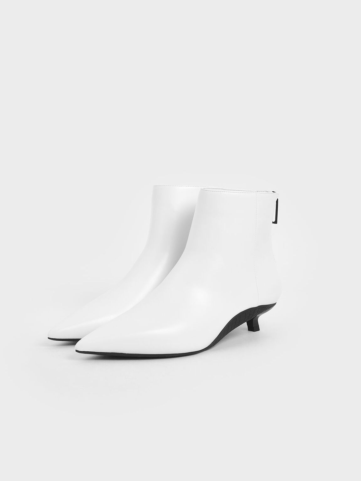 Two-Tone Kitten Heel Ankle Boots, White, hi-res