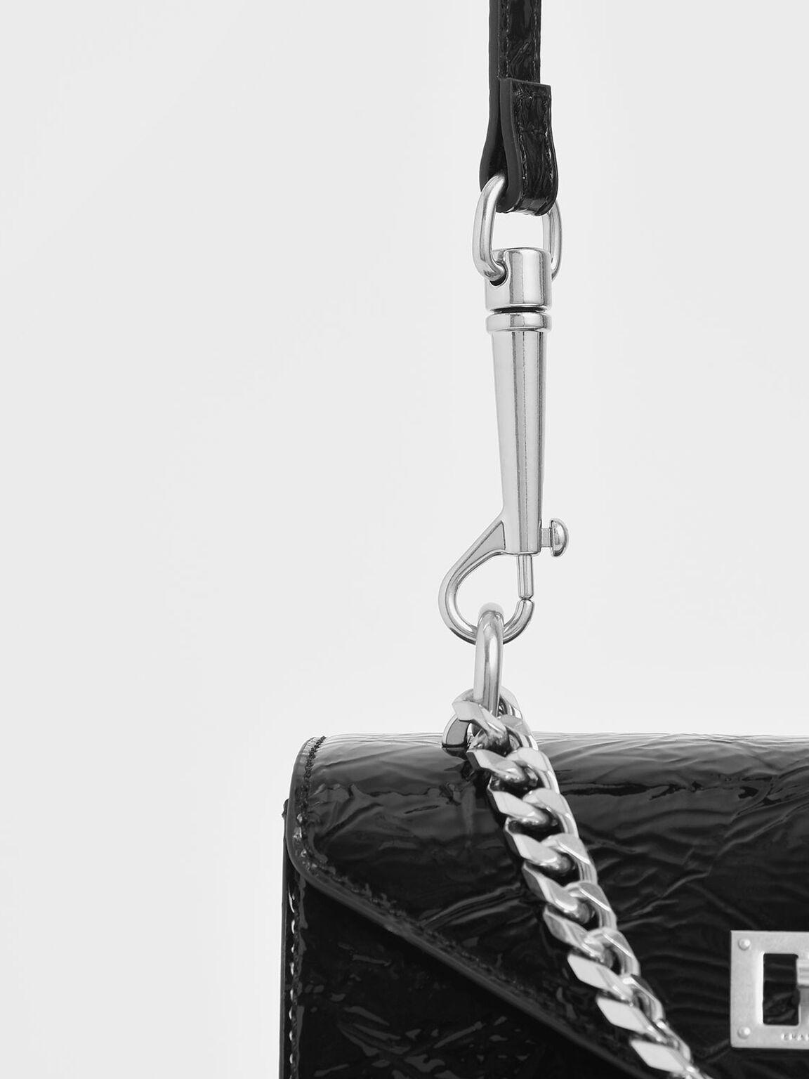 Wrinkled Patent Two-Way Zip Chain Handle Bag, Black, hi-res