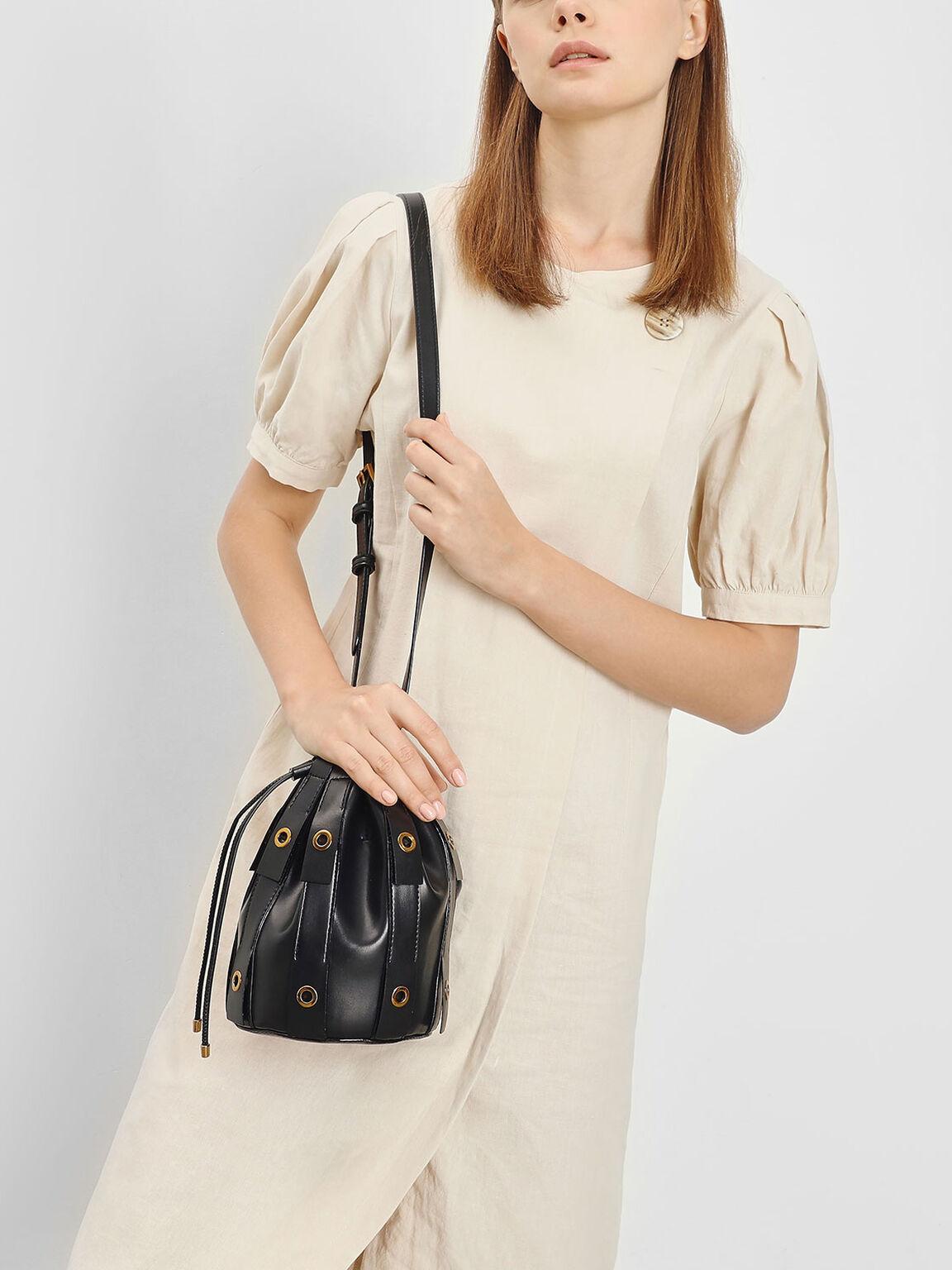 Fringe Bucket Bag, Black, hi-res