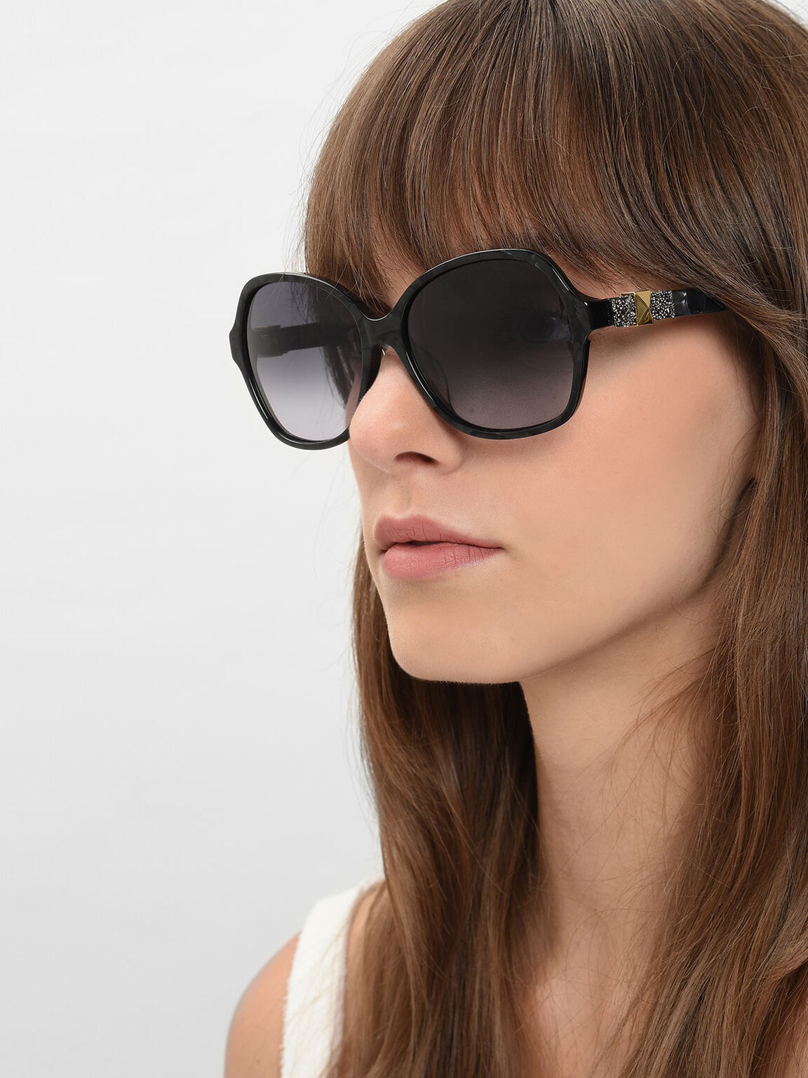 Embellished Butterfly Sunglasses, Black, hi-res