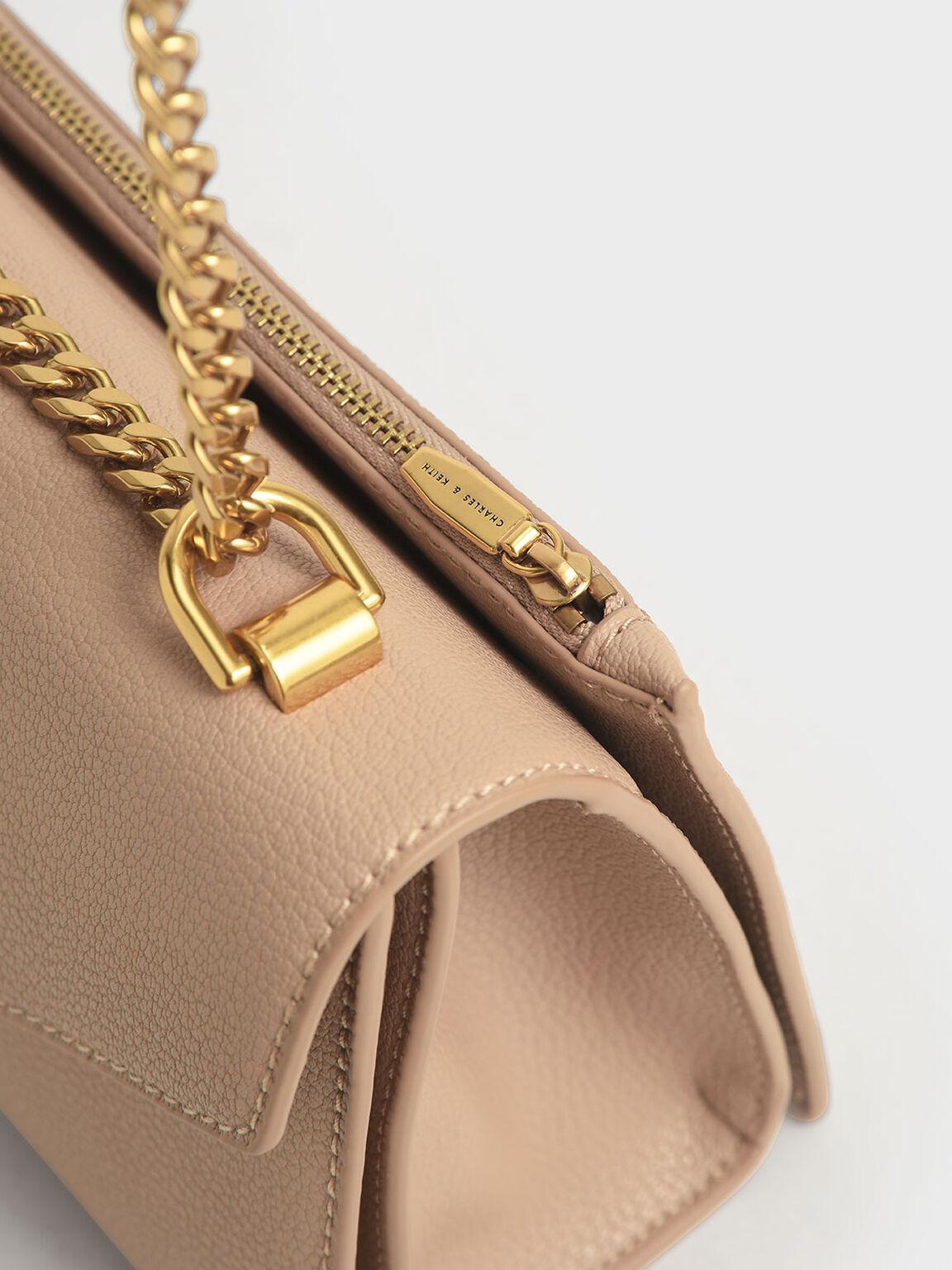 鍊條斜背包, 米黃色, hi-res