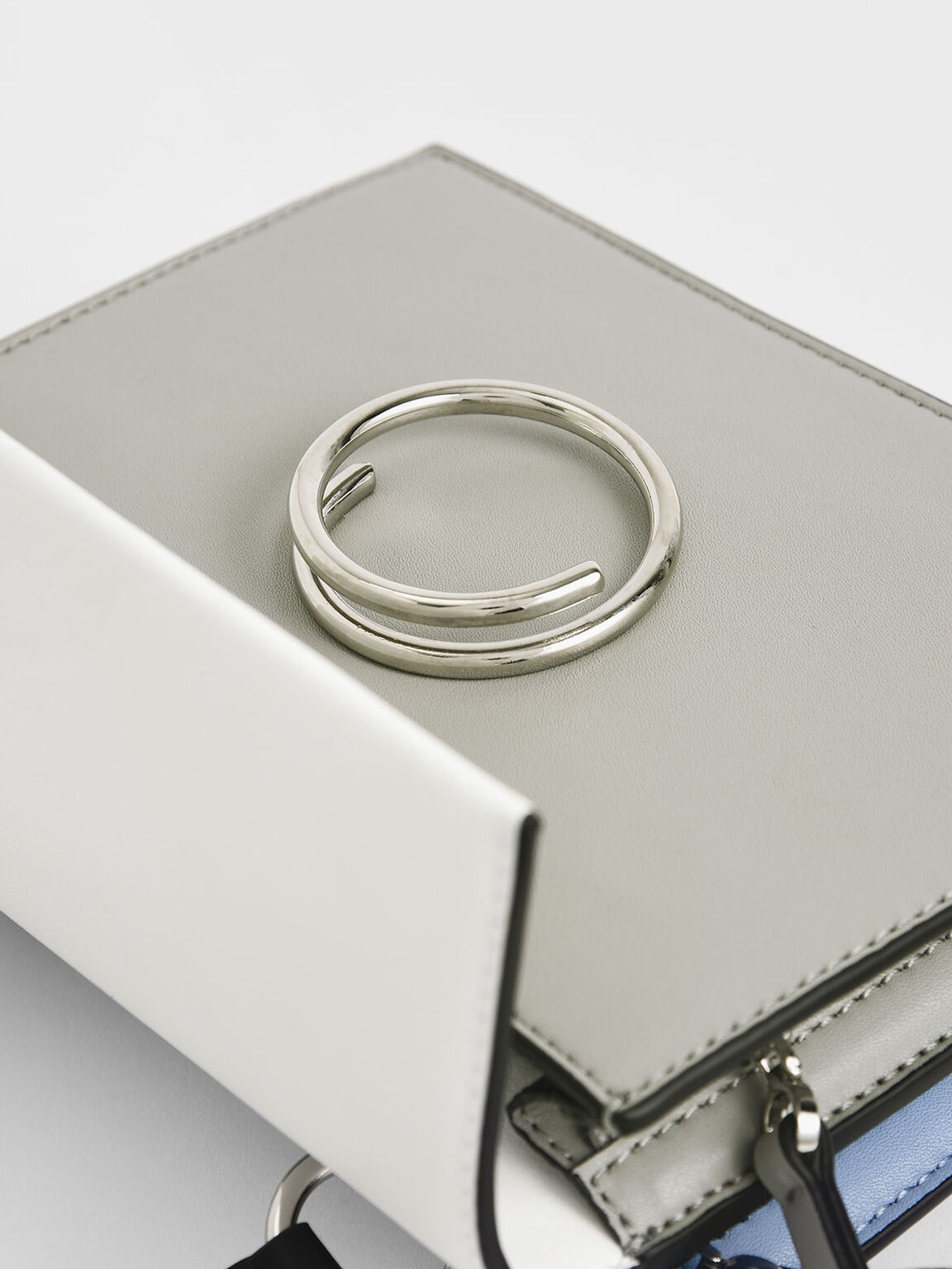Two-Tone Ring Detail Top Handle Bag, Grey, hi-res