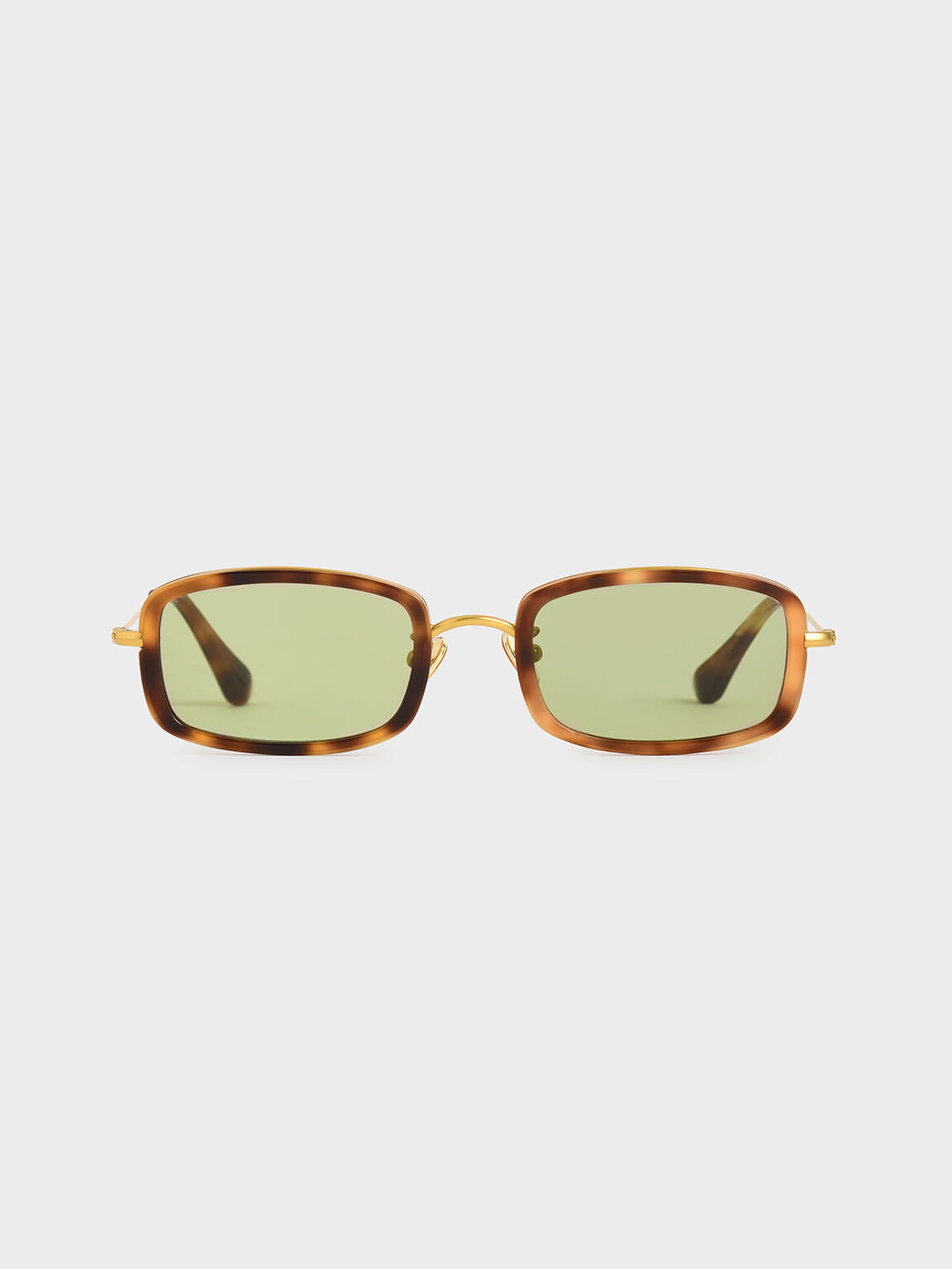 Rectangle Frame Tortoiseshell Acetate Sunglasses, T. Shell, hi-res