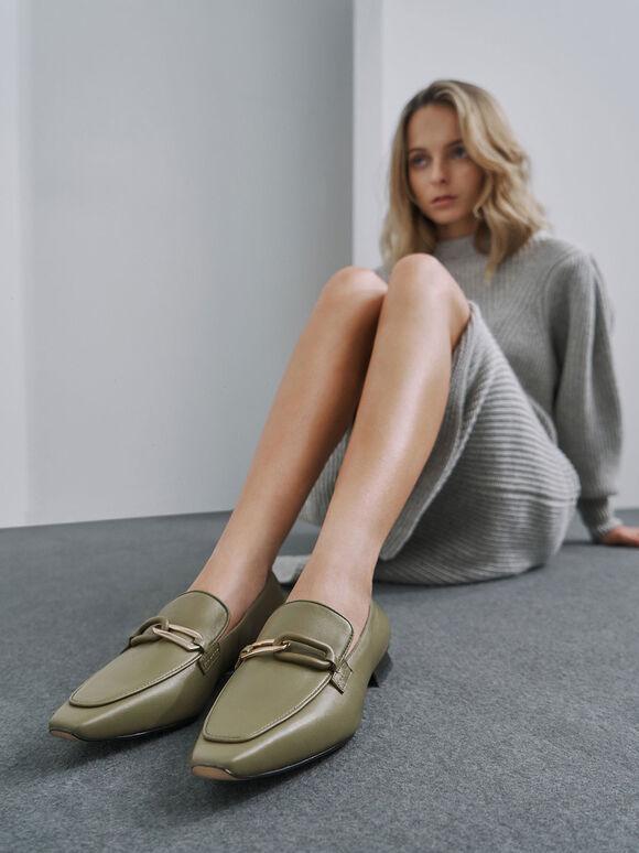 Embellished Leather Loafers, Sage Green, hi-res