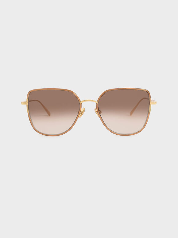 Cut-Out Frame Butterfly Sunglasses, Taupe, hi-res