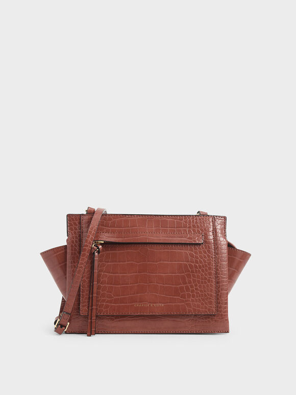 Croc-Effect Mini Trapeze Crossbody Bag, Clay, hi-res