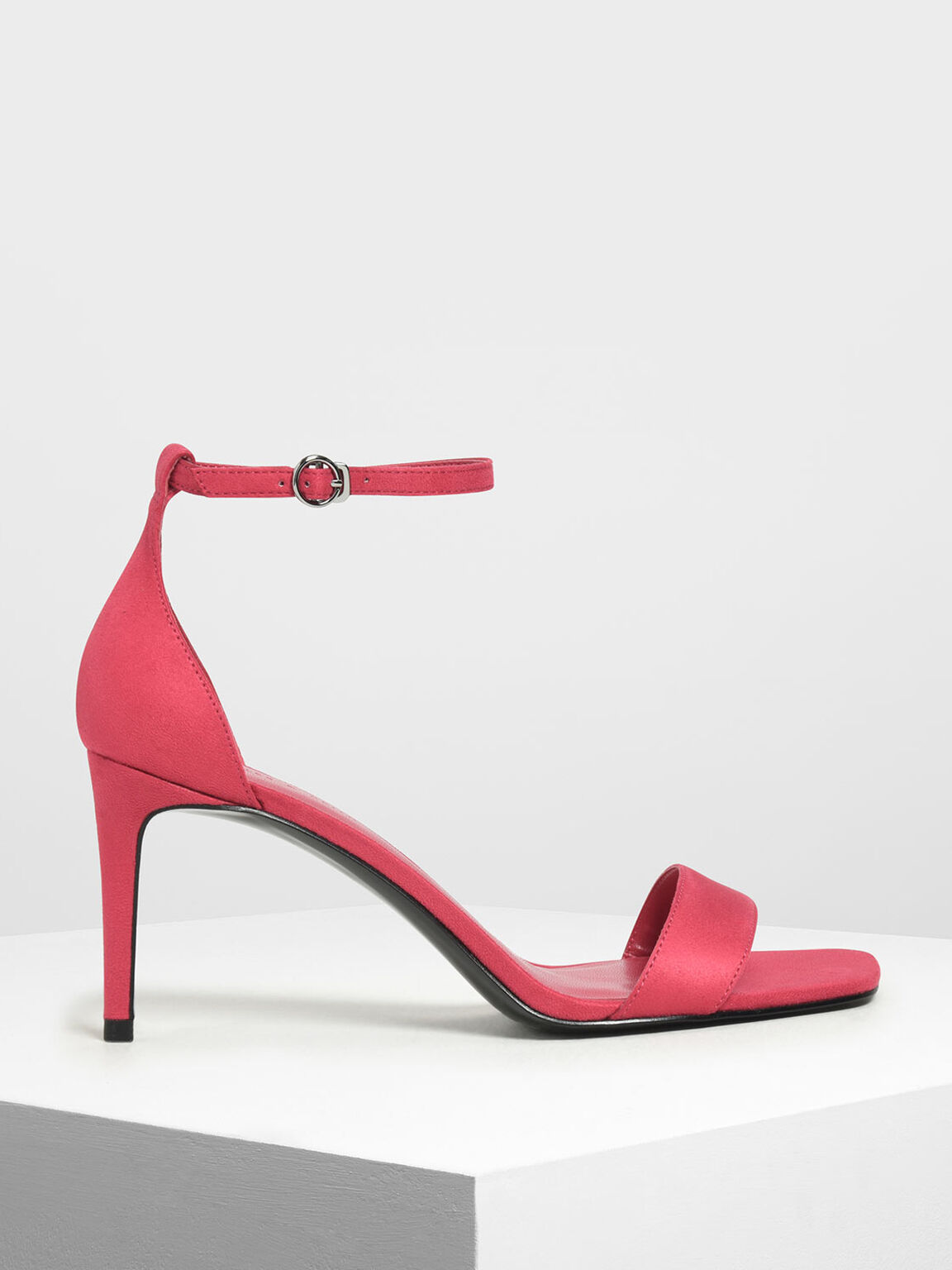 Classic Ankle Strap Heels, Red, hi-res