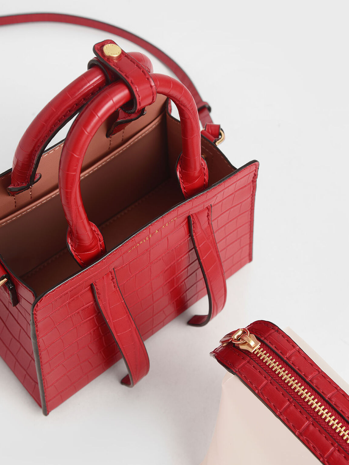 Croc-Effect Top Handle Bag, Red, hi-res
