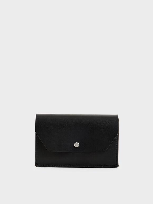 Reversible Front Flap Card Holder, Black, hi-res