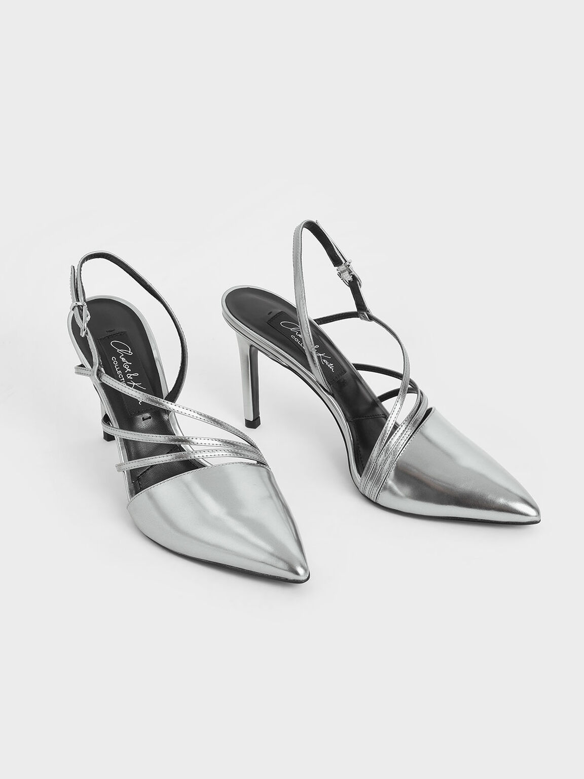 Metallic Leather Strappy Slingback Heels, Silver, hi-res