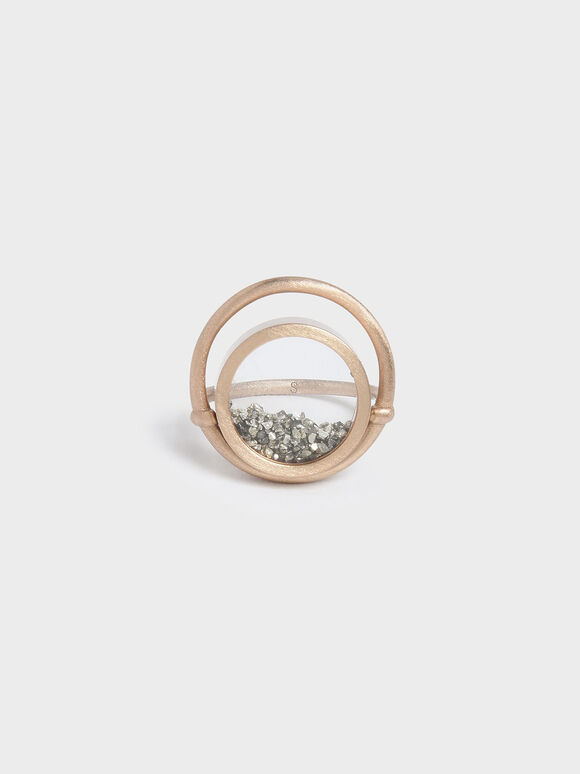 Silver Sparkling Sandstone Floating Locket Ring, Gold, hi-res