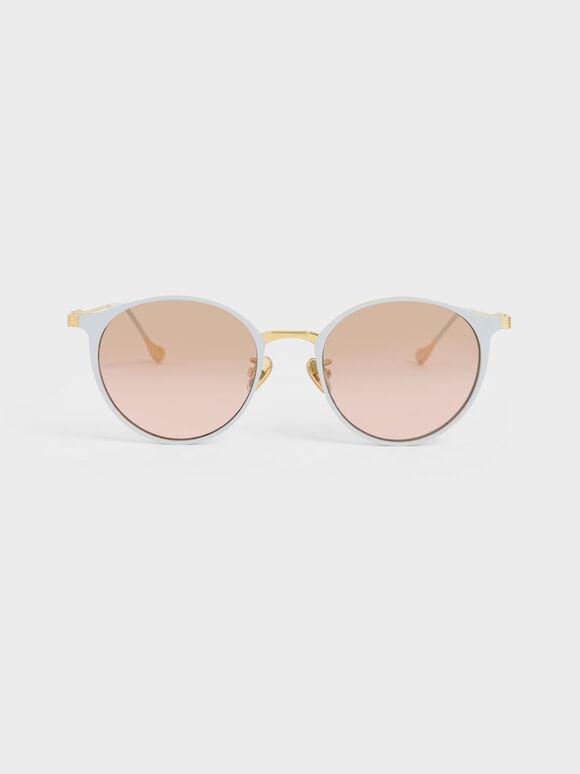 Tinted Round Sunglasses, Blue, hi-res
