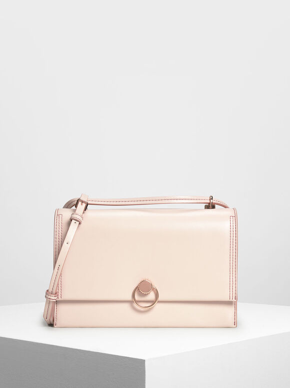 더블 스트랩 숄더 백, Light Pink, hi-res