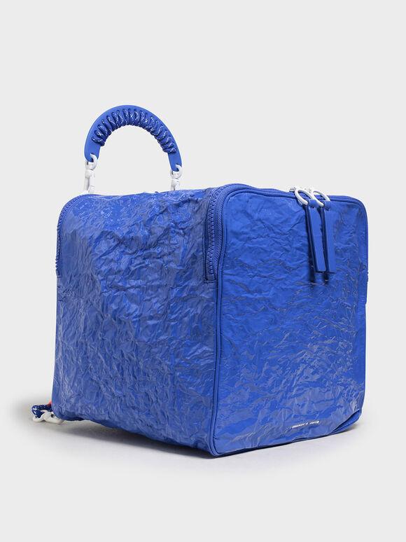 Rope Handle Wrinkled Effect Patent Backpack, Blue, hi-res