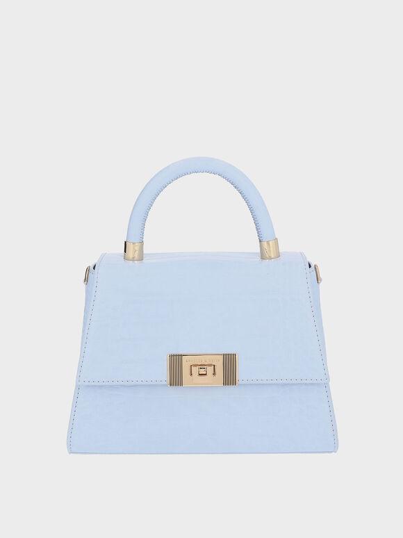 Marise Croc-Effect Trapeze Bag, Blue, hi-res