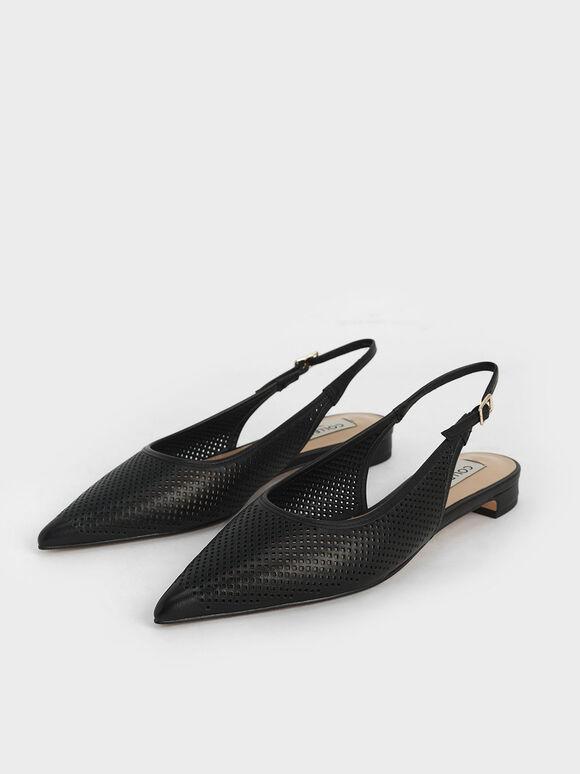 Leather Laser-Cut Slingback Ballerinas, Black, hi-res