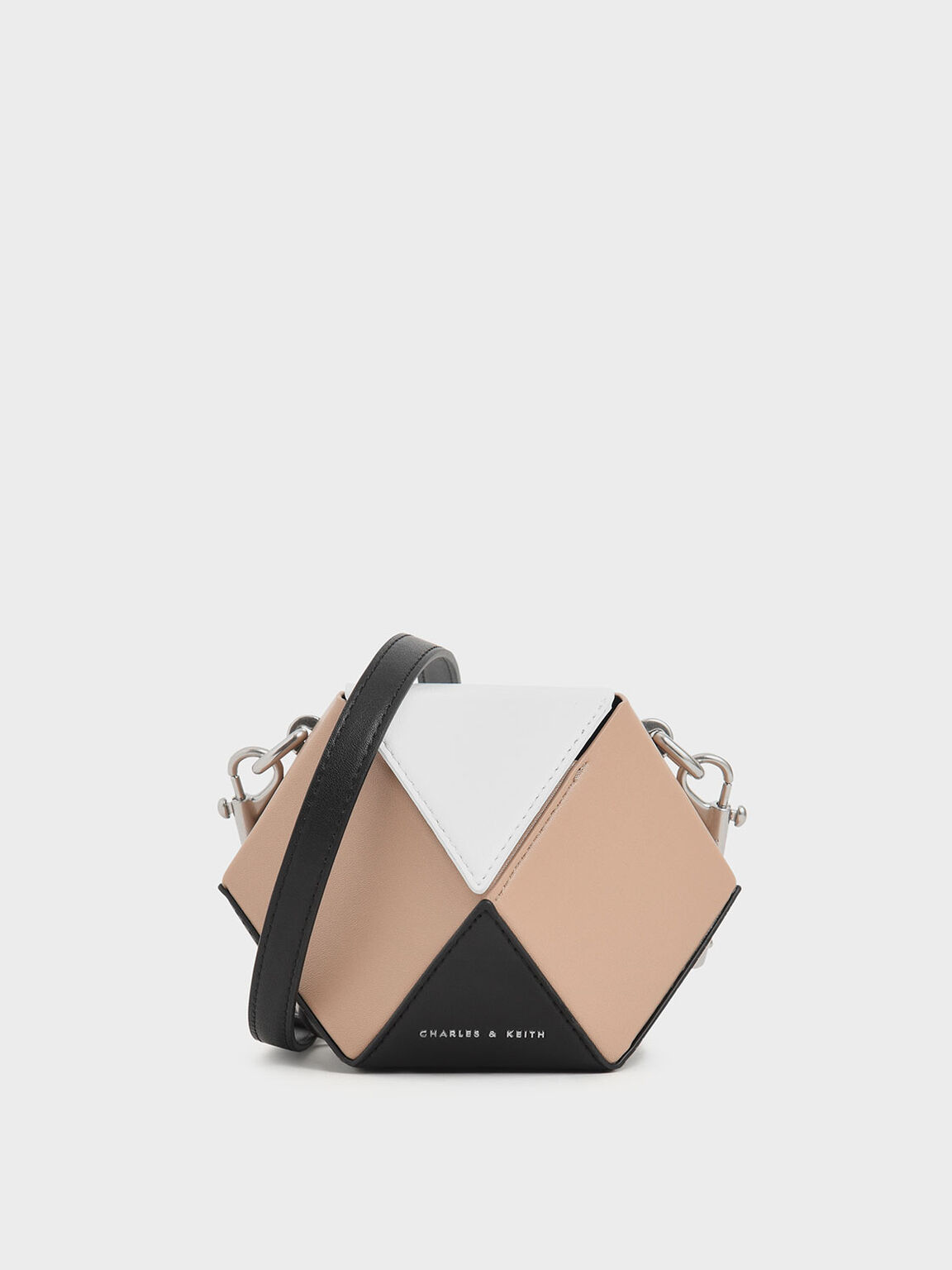 Multicoloured Chunky Chain Handle Hexagon Clutch, Multi, hi-res