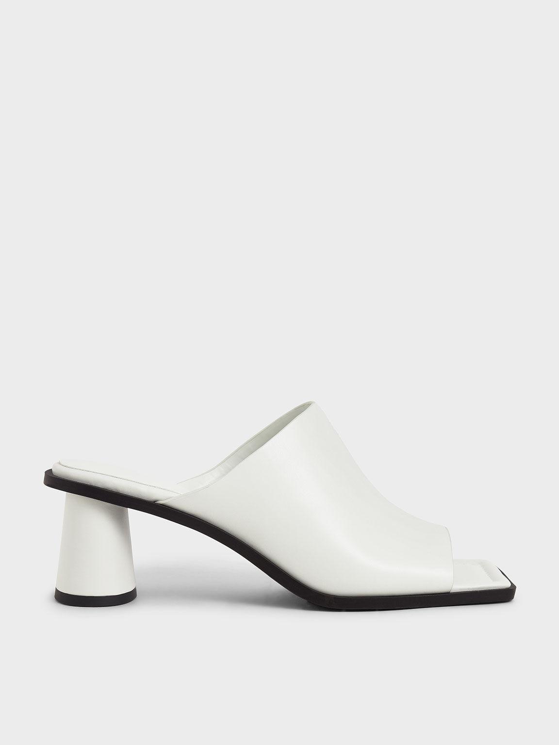 方頭粗跟穆勒拖鞋, 白色, hi-res