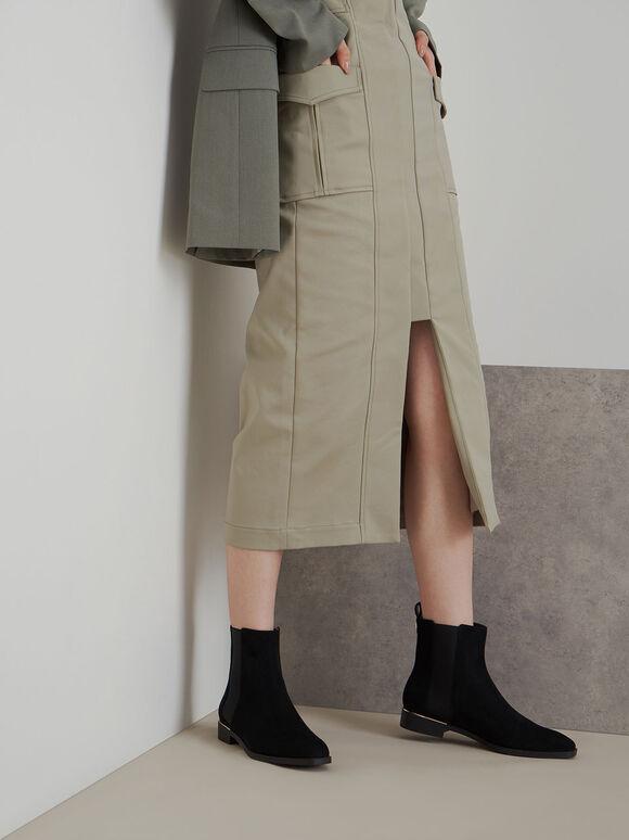 金屬點綴切爾西短靴, 黑色特別款, hi-res