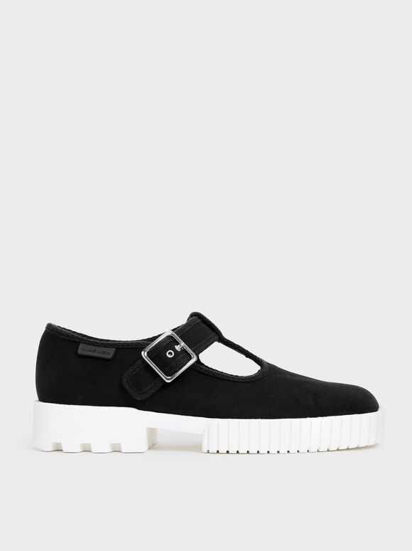 Cotton Buckled Sneakers, Black, hi-res