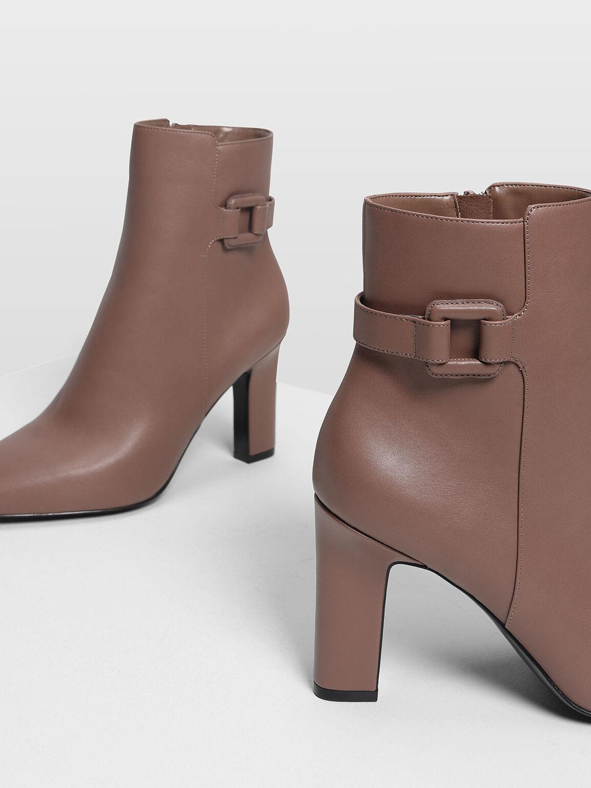 Wrapped Buckle Detail Calf Boots, Mauve, hi-res
