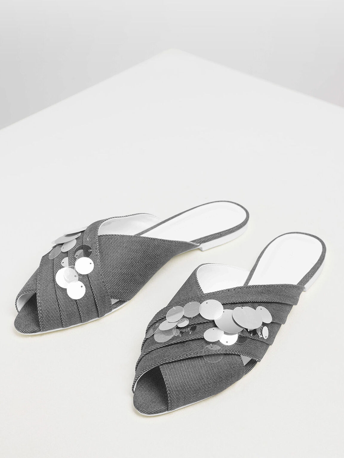 Sequin Peep Toe Denim Sliders, Light Grey, hi-res