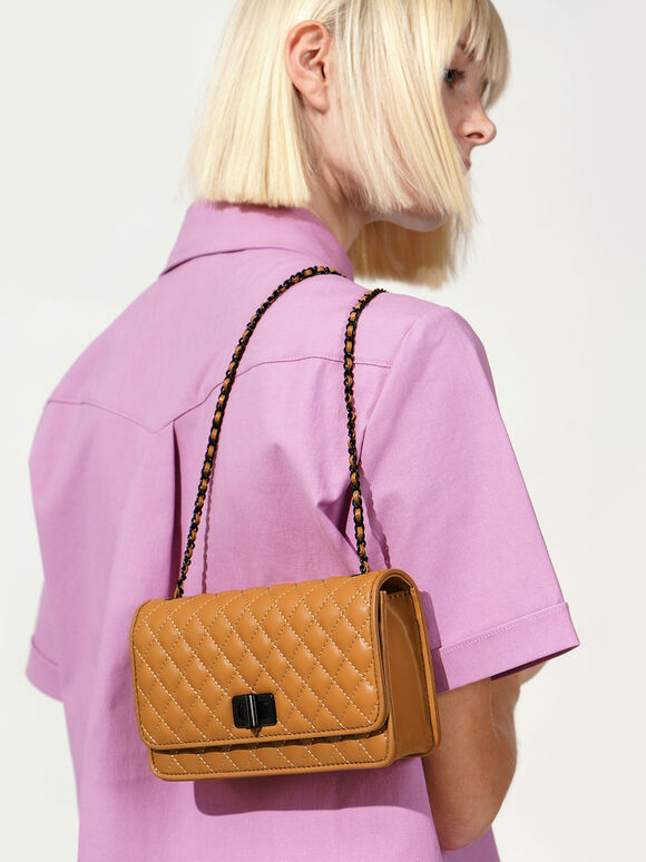 Quilted  Chain Strap Bag, Caramel, hi-res