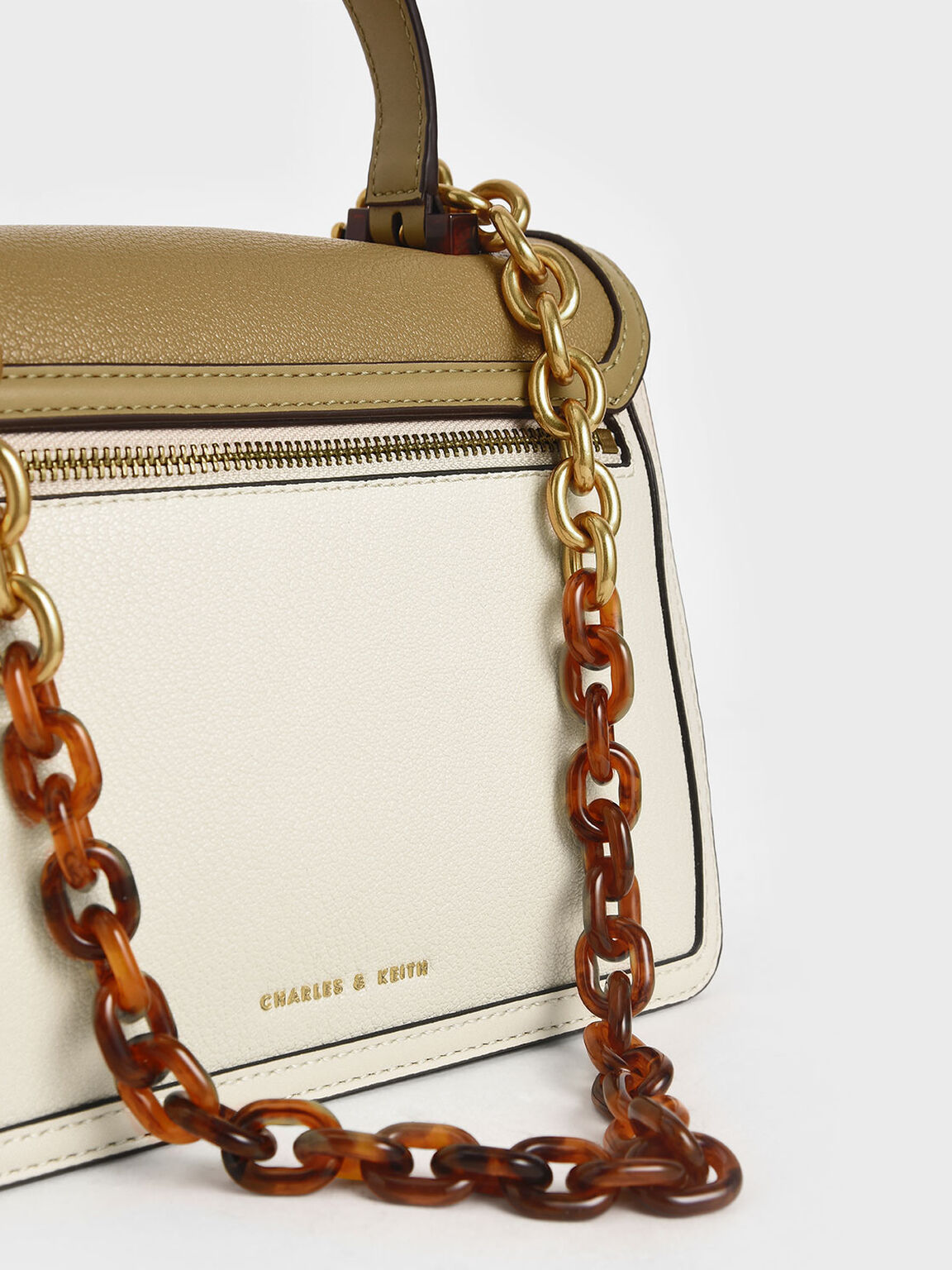 Chunky Chain Strap Bag, Cream, hi-res