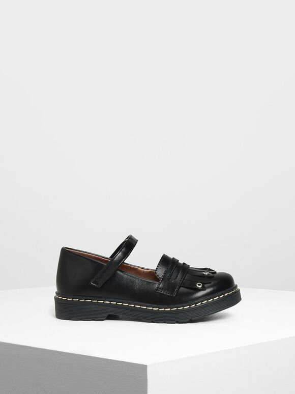 Kids' Fringe Loafers, Black, hi-res