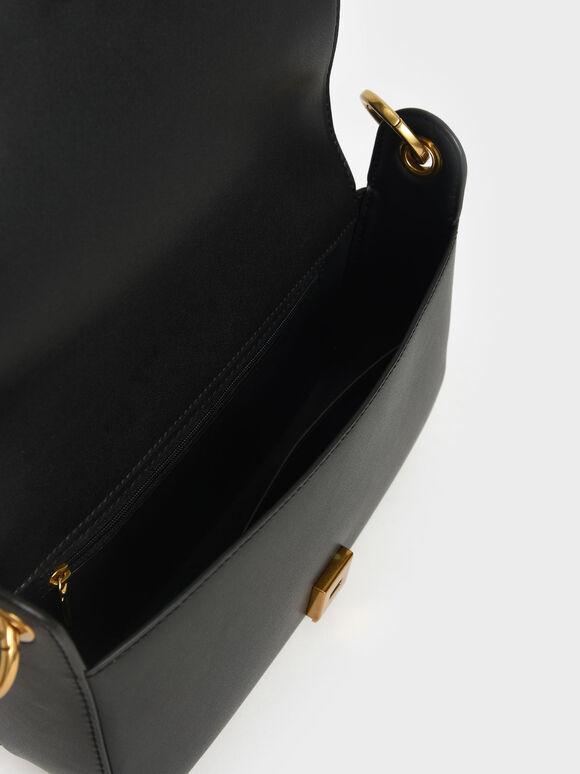 Coiled Top Handle Shoulder Bag, Black, hi-res