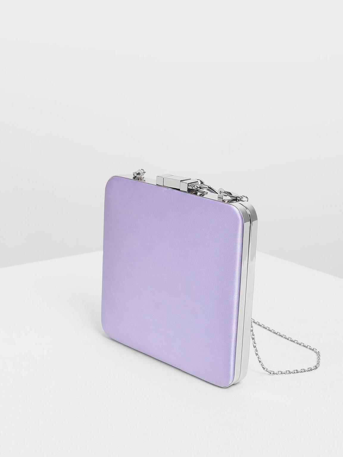 Satin Push Lock Bracelet Clutch, Lilac, hi-res