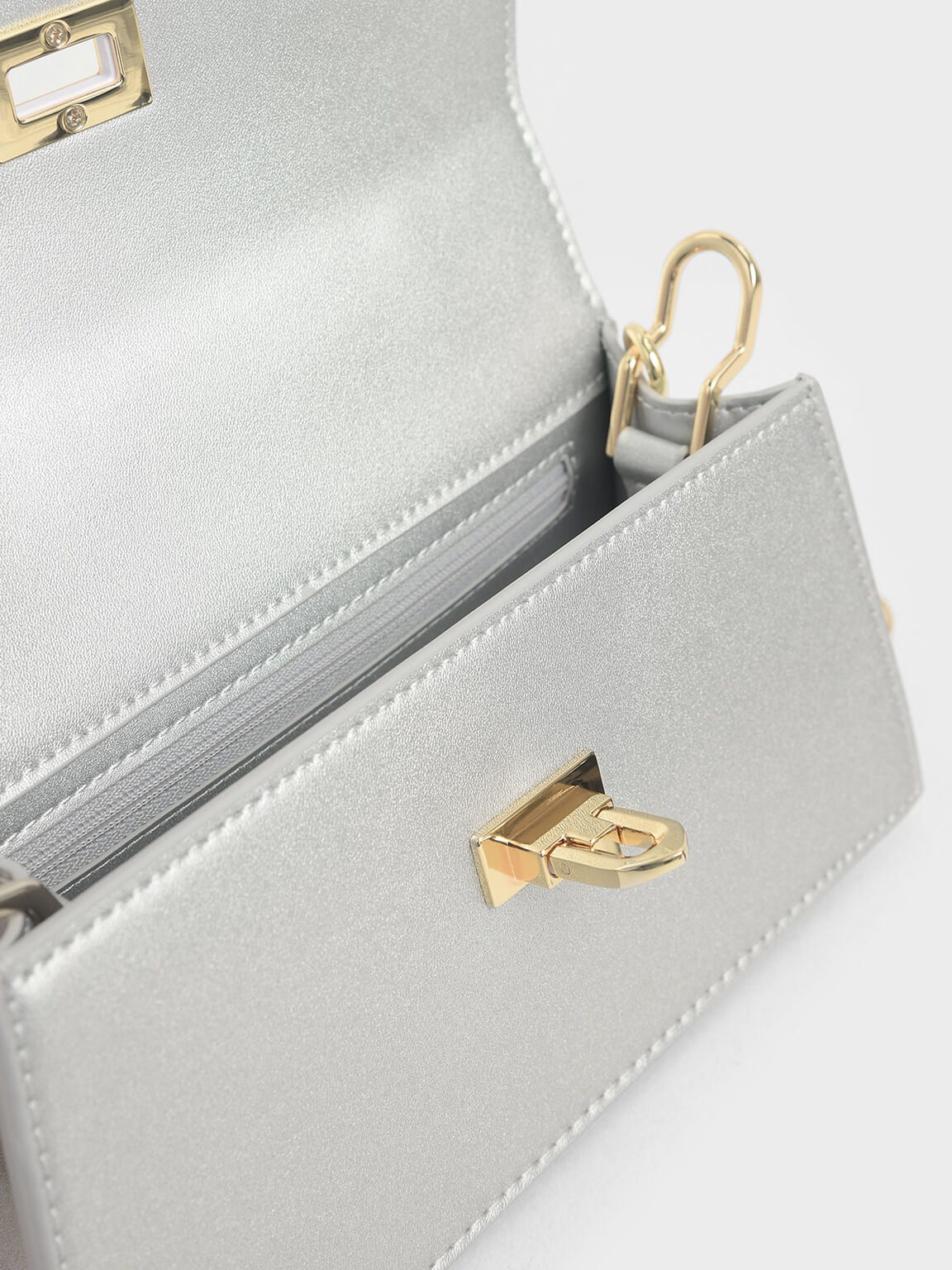 Top Handle Trapeze Bag, Silver, hi-res