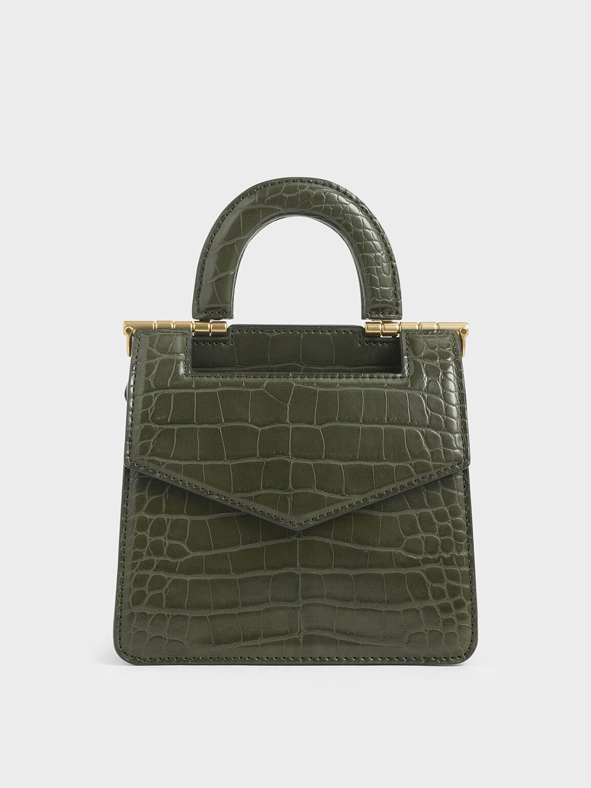 Mini Croc-Effect Envelope Bag, Olive, hi-res