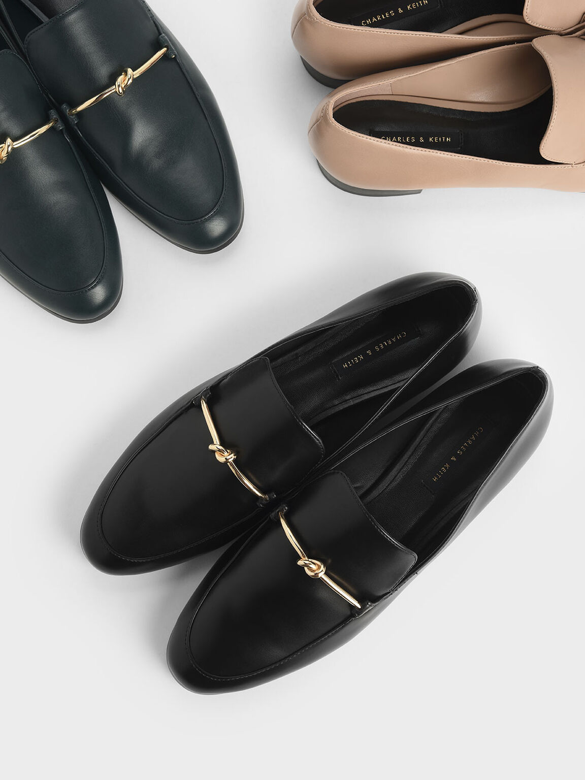 Metallic Knot Accent Loafers, Black, hi-res