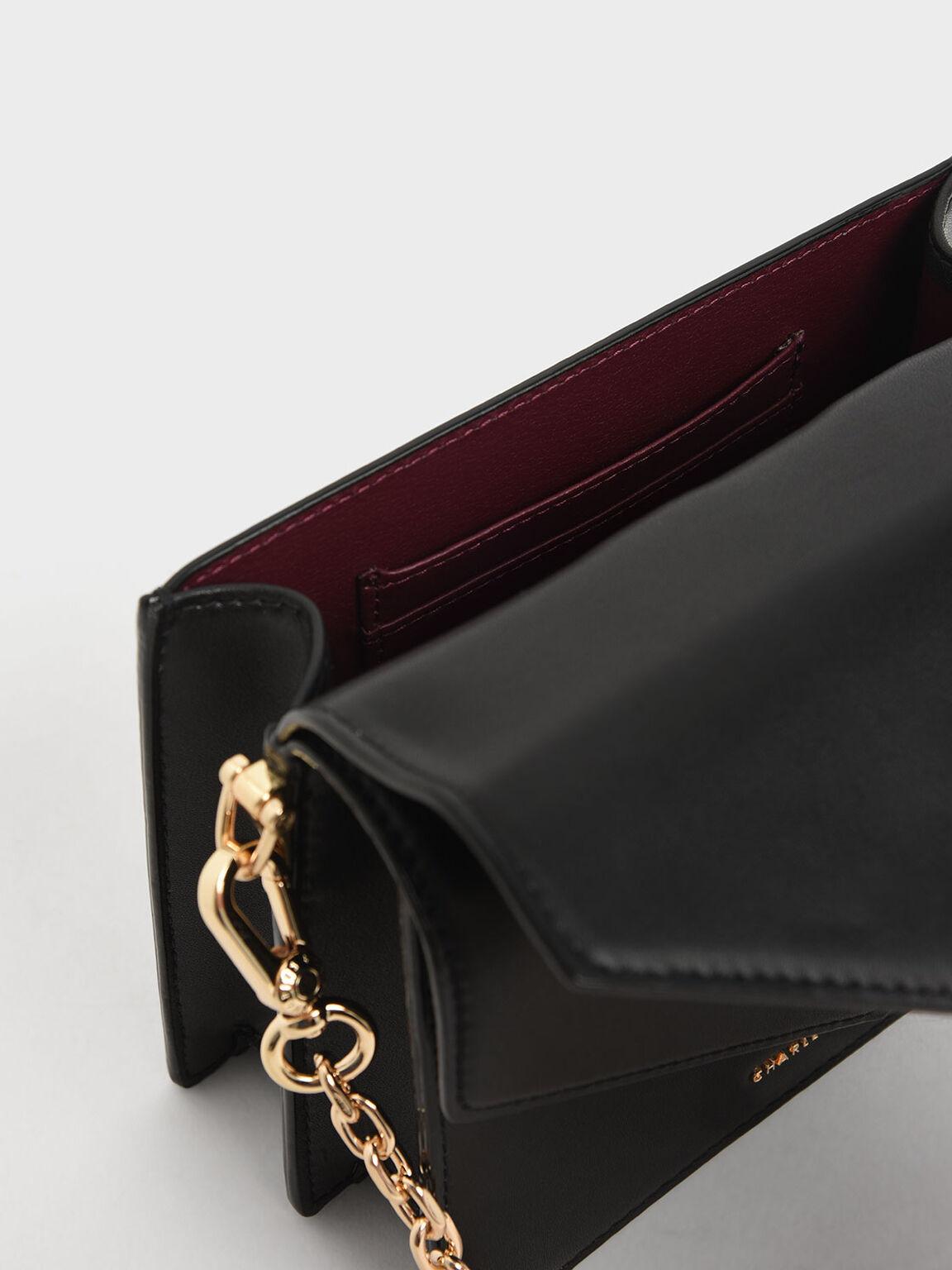 Metallic Push Lock Top Handle Bag, Black, hi-res